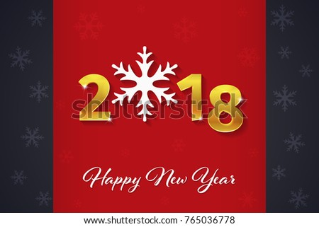 2018 happy new year golden 3d text on the christmas red and dark background with snowflake