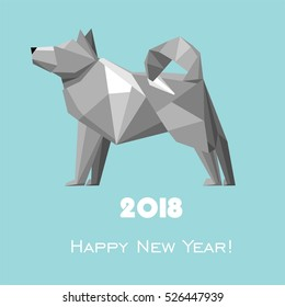 2018 Happy New Year greeting card. Celebration background with dog and place for your text.  Vector Illustration