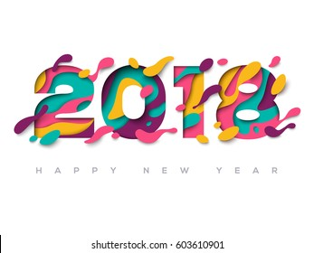 2018 Happy New Year greeting card with abstract paper cut shapes on white background. Vector illustration. Colorful 3D carving art