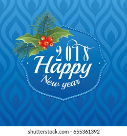 2018 Happy New Year greeting card vector illustration