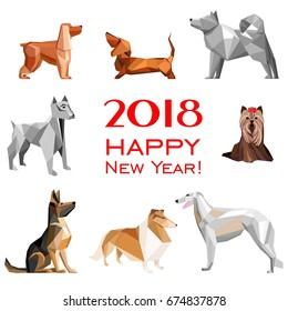 2018 Happy New Year greeting card. Celebration white background with Dogs and place for your text. 2018 Chinese New Year of the dog. Vector illustration