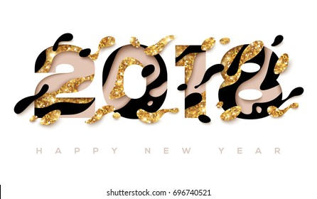 2018 Happy New Year greeting card with abstract gold and black shapes on white background. Vector illustration. Colorful 3D paper cut art. Glowing Christmas Backdrop