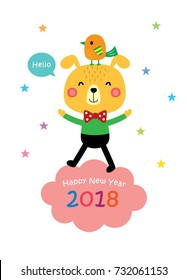 2018 Happy New Year Greeting With Puppy And Bird Graphic
