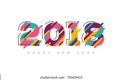 2018 Happy New Year greeting card with abstract colorful numbers. Vector illustration.  Brochure design template, business diary cover