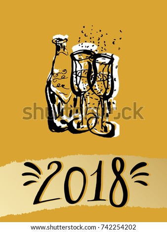 2018 happy new year hand drawn lettering with champagne glasses vector illustration for party invitations