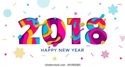 2018 Happy New Year holiday greeting card on white background with snowflakes pattern. Vector winter holiday numbers 2018 poster design of paper cut multi color layers and creative text carving.