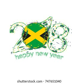 2018 Happy New Year Jamaica grunge vector template for greeting card, calendars 2018, seasonal flyers, christmas invitations and other.