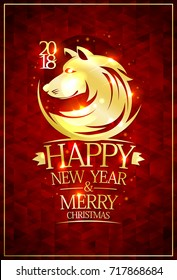 2018 Happy new year and Merry Christmas card with golden dog silhouette against rich deep red mosaic backdrop