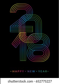 2018 Happy new year. Numbers minimalist style. Vector linear numbers. Design of greeting card. Vector illustration.