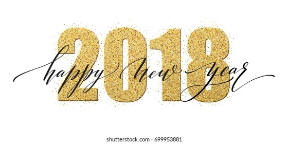 2018 Happy new year. Numbers Golden Glitter Design greeting card. Gold Shining Pattern. Vector illustration EPS10