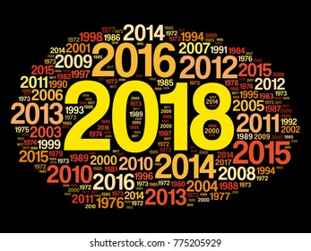 2018 Happy New Year and previous years word cloud collage