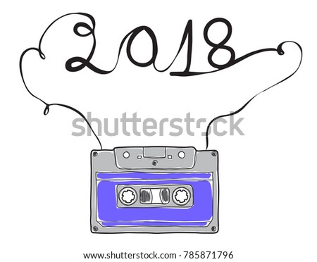 2018 happy new year purple compact cassette musicassette hand drawn vector cassette tape