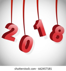 2018 Happy New Year. Red 3D numbers.