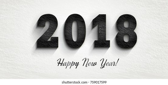 2018 Happy New Year.  stylish black squared shabby numerals