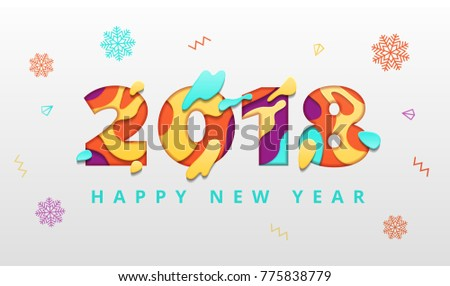 2018 Happy New Year Template Abstract Stock Vector (Royalty Free ...