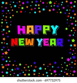 2018 Happy New Year text colorful scatter effect graphics design