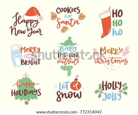 2018 happy new year text logo badge lettering holiday calendar print design merry christmas newborn party