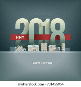 2018 Happy New Year in town. Vector greeting card design. Elements are layered separately in vector file.