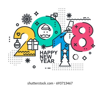 2018 Happy New Year trendy card or background. Modern Thin Contour Line Design Concept. Flat, outline. Vector Illustration Isolated on white background.