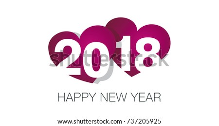 2018 happy new year two hearts in love
