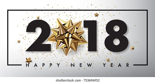 2018 happy new year vector greeting card and poster design with golden ribbon and stars.