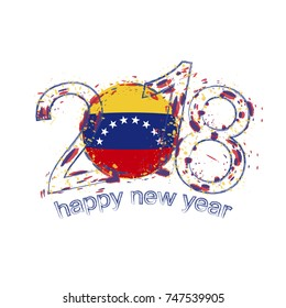 2018 Happy New Year Venezuela grunge vector template for greeting card, calendars 2018, seasonal flyers, christmas invitations and other.