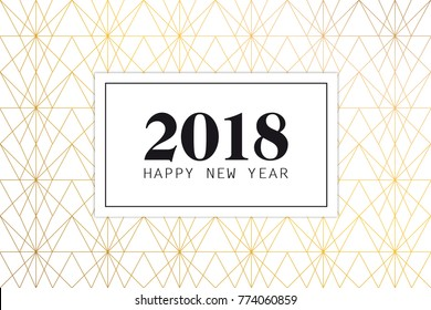 2018 Happy new year with white and gold art deco background