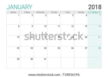 2018 January Calendar Desk Planner Weeks Stock Vector Royalty Free