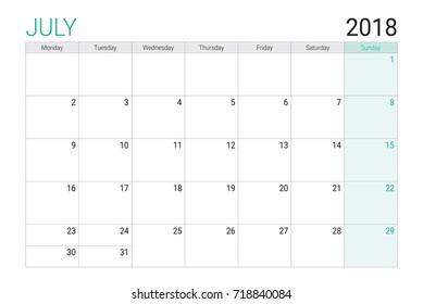 2018 July calendar or desk planner, weeks start on Monday - plain white and light green theme