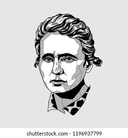 Oсt.7, 2018: Marie Curie. Creative modern painting.Vector illustration hand drawn.