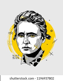 Oсt.7, 2018: Marie Curie. Creative modern painting.Vector illustration hand drawn. Geometric yellow background.