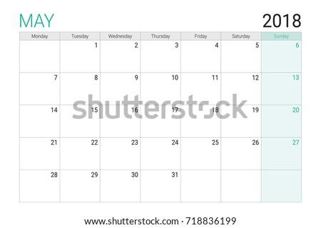 2018 May Calendar Desk Planner Weeks Stock Vector (Royalty Free