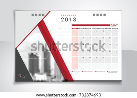 2018 May Desk Table Calendar Weeks Stock Vector (Royalty Free