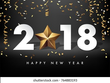 2018 merry christmas and happy new year vector greeting card and poster design with golden ribbon,star and confetti.