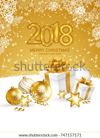 5f378f17c7643 2018 Merry Christmas and Happy New Year card with christmas balls and gift  boxes on snow