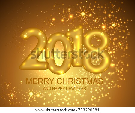2018 merry christmas and happy new year banner with gold text design and sparkles vector