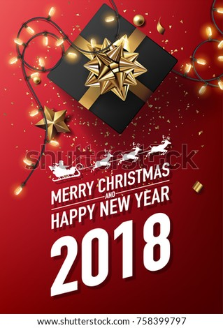 2018 merry christmas happy new year stock vector royalty free 2018 merry christmas and happy new year vector greeting card and poster design with golden ribbon m4hsunfo