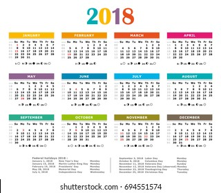2018 multicolored american vector calendarfull year federal holidas moon and numbered weeks