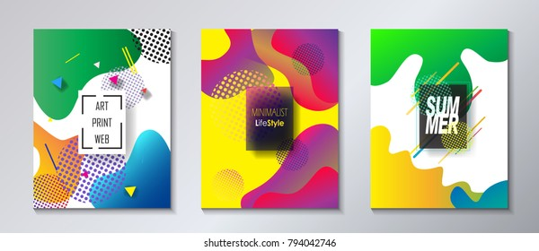2018 music festival carnival posters, flyer, brochure cover set, abstract dynamic minimalist vibrant lines fluid summer colors shapes, concept pop art form music elements, tropical exotic modern style