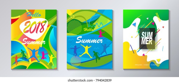 2018 music festival carnival posters, flyers, brochure covers set Fluid abstract dynamic geometric shapes and lines, music elements, tropical exotic modern style vector Pool Party Kids Camp Sport Aqua