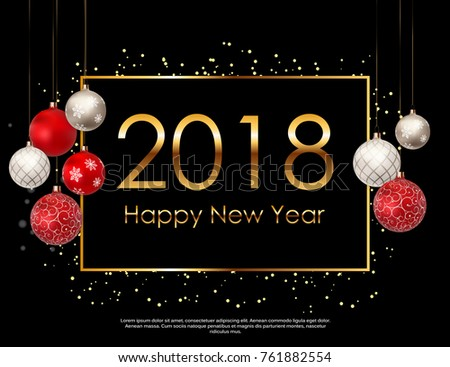 2018 new year background with christmas ball vector illustration eps10