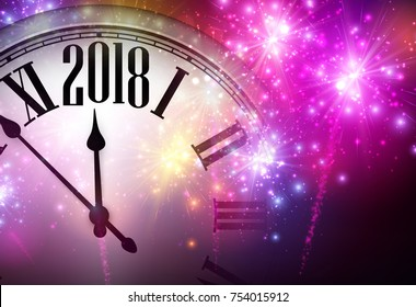 2018 new year background with clock and pink fireworks vector illustration