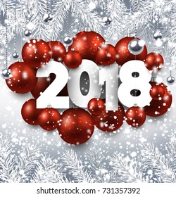 2018 New Year background with red Christmas balls. Vector illustration.