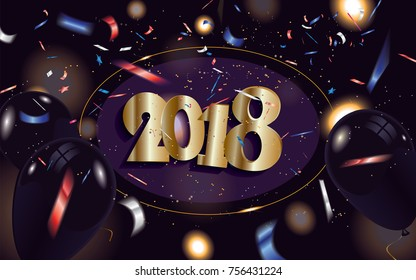 2018 New Year banner in the cover with black balloons and defocused colorful transparent confetti isolated on dark sparkle background.Vector illustration.