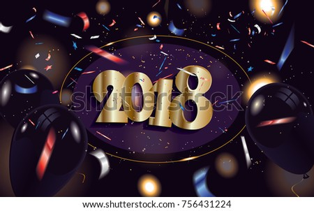 2018 new year banner in the cover with black balloons and defocused colorful transparent confetti isolated