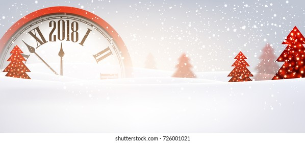 2018 New Year banner with red clock. Vector illustration.