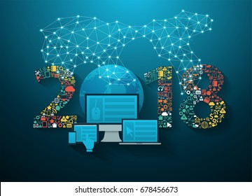 2018 new year business innovation technology set application icons, Vector illustration modern design layout template
