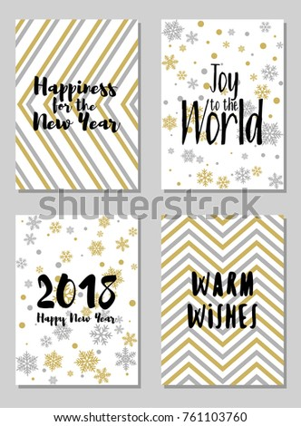 2018 New Year Cards Vector Templates Stock Vector (Royalty Free ...
