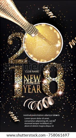 2018 new year celebration invitation card with gold numbers and bottle and glass with champagne