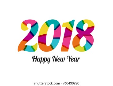 2018 New Year with cheerful colors. Mixed flat colors. White background. For design of posters, invitations, cards, brochures and calendars. Vector template